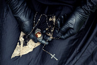 Gloved Hands Holding a Handkerchief, Crucifix and Locket
